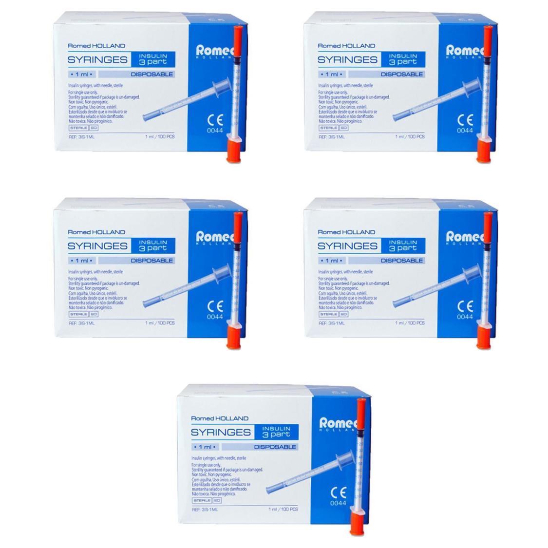 Insulinspritzen steril mit Kanüle U100 / 29 G x 0,5 Romed Spritzen 500 Stück