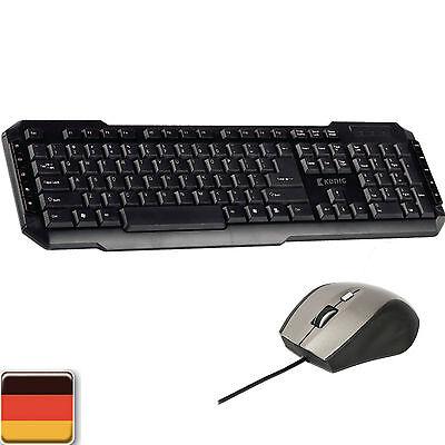 König Gamer Gaming Tastatur USB + 5 Tasten Maus Set Spiele Pc Computer QWERTZ