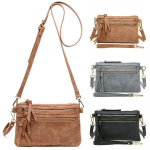 Aitbag Women's Multi Zipper Pocket Wristlet Crossbody Bag Leather Clutch Purse