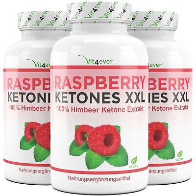 3x Raspberry XXL = 750 Kapseln 100% Himbeere Ketone 4000 mg Turbo Stoffwechsel