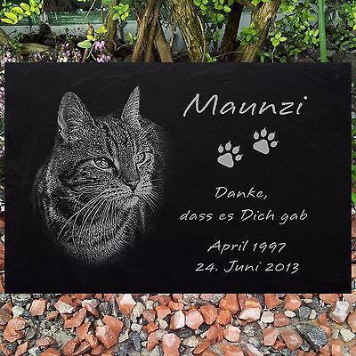 Katzen Grabstein Gedenkstein TIERGRABSTEIN Katze-022 ► Foto Gravur ◄ 20 x 15 cm