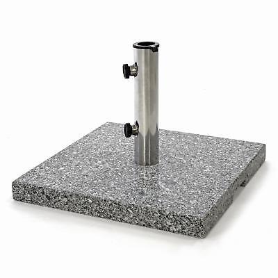 Sonnenschirmständer 25kg Granit poliert grau eckig Edelstahl Rohr,  45 x45cm