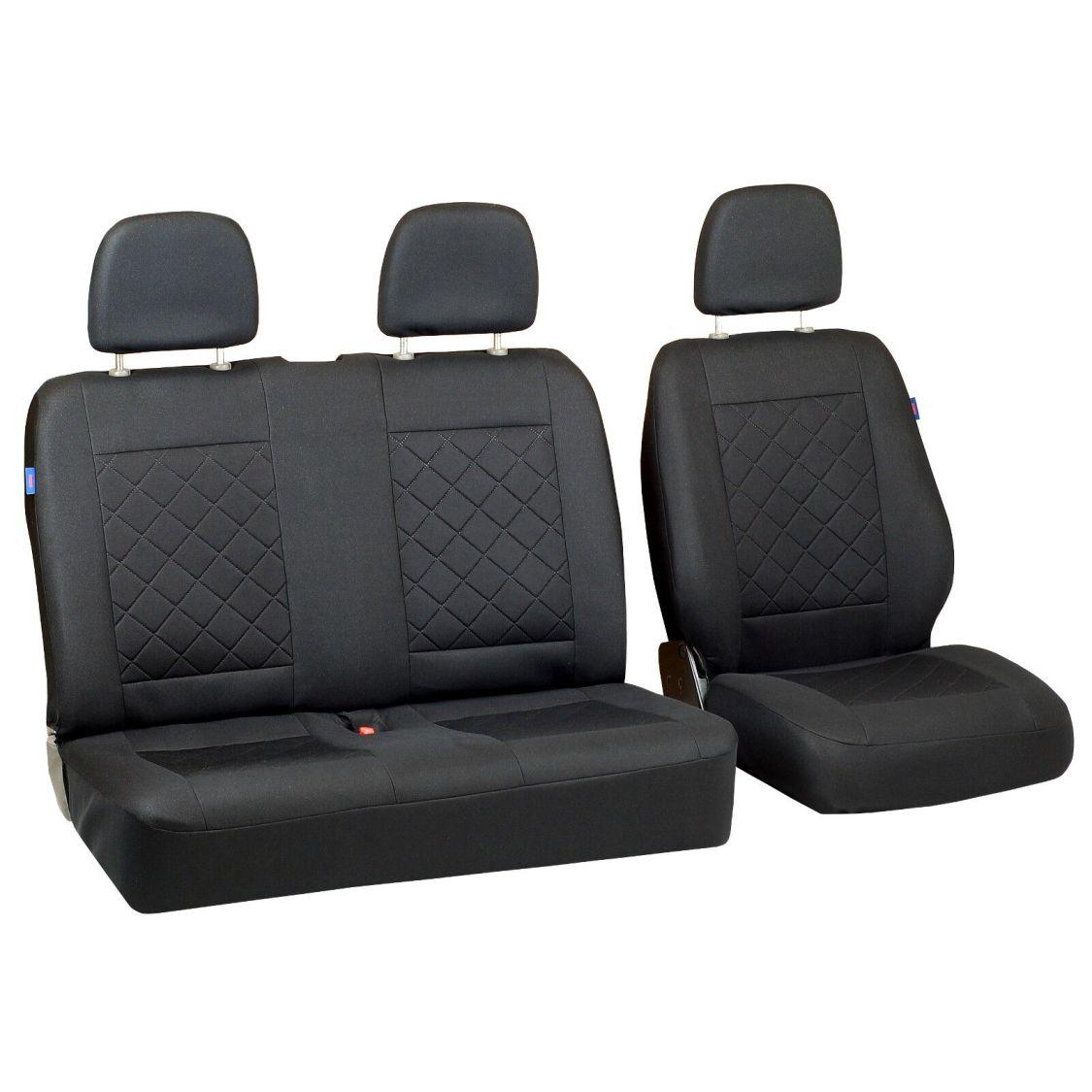 Intensiv Schwarze Sitzbezüge für RENAULT TRAFIC Autositzbezug SET 1+2