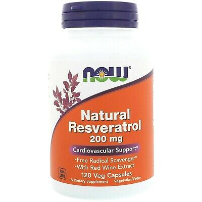 Now Foods Natural RESVERATROL 200 mg, 120 Veg Caps Anti-Aging, Heart Health