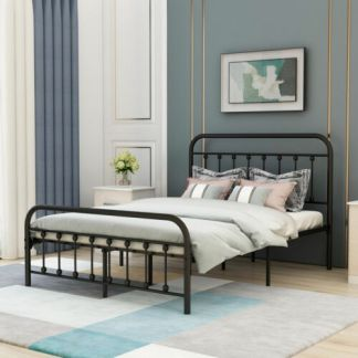 Queen Size Metal Bed Frame Black Mattress Foundation with Headboard Footboard
