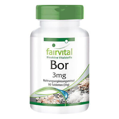 Bor 3mg 90 Tabletten, Boron, Reinsubstanz made in Germany, vegan- fairvital