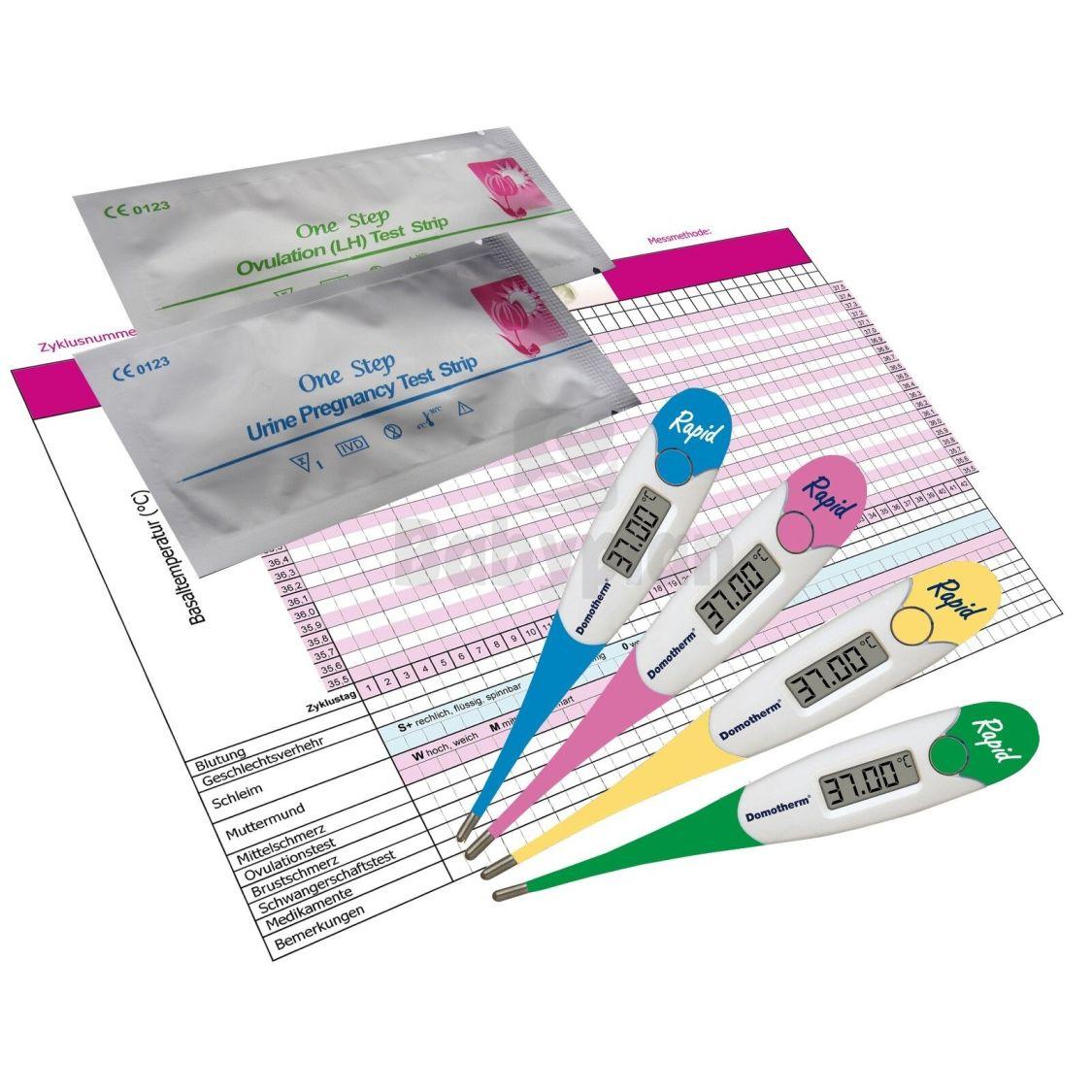 Set Basalthermometer + 5 Zyklusblätter 10 Ovulationstest 5 Schwangerschaftstest