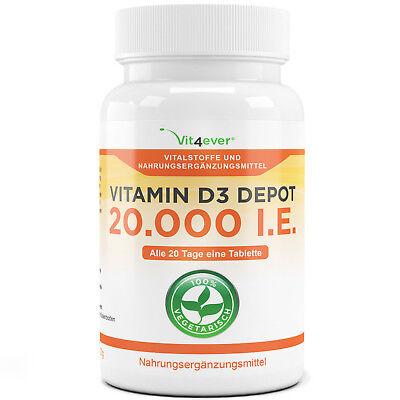 Vitamin D3 20.000 I.E. - 100 Tabletten - Hochdosiert mit 20000 IU - Premium