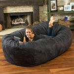 Oversize Bean Bag Chair Giant Adult Black Dorm Furniture 8ft Sofa Lounge College