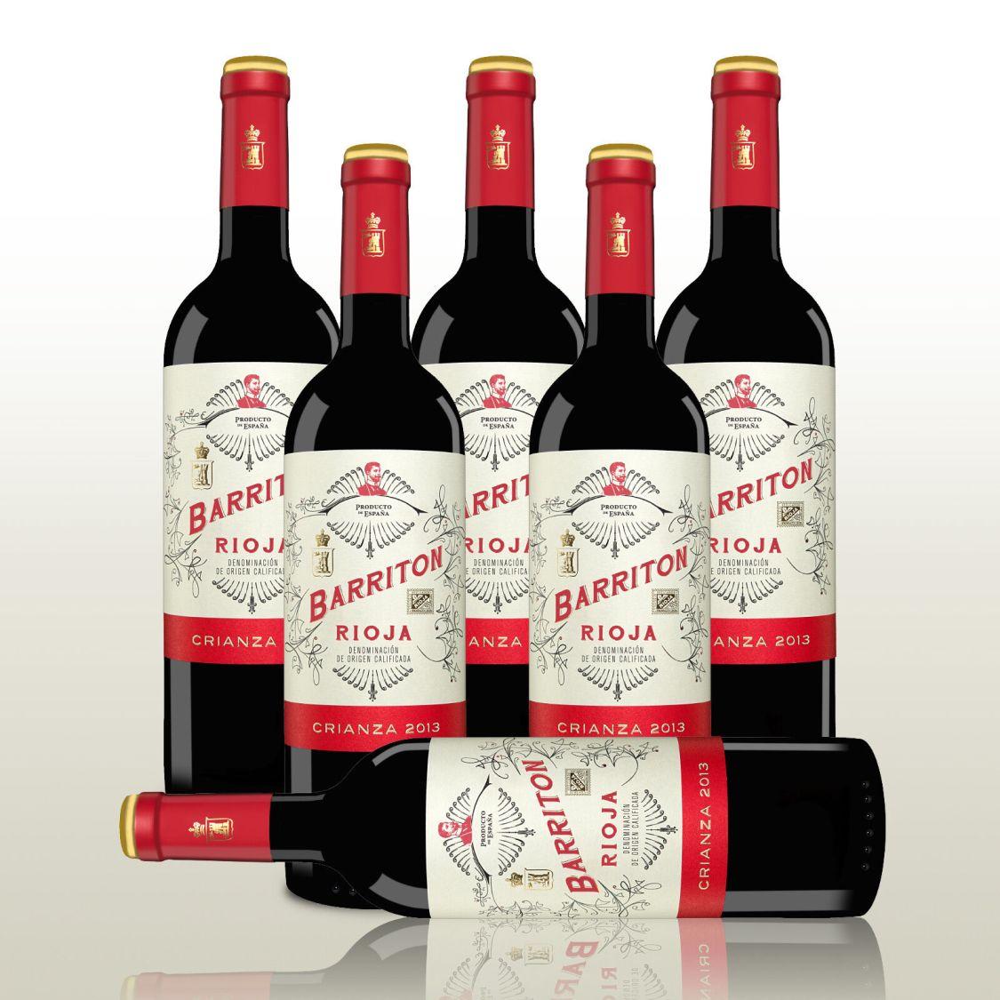 6 Fl. Barriton Crianza 2013, Rioja-Crianza Spanien, Tempranillo, Rotwein trocken