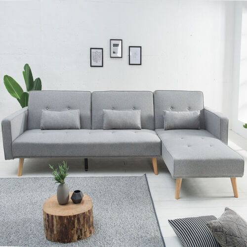Modernes Ecksofa NORDIC 265cm Sofa hellgrau Couch mit Schlaffunktion Schlafsofa