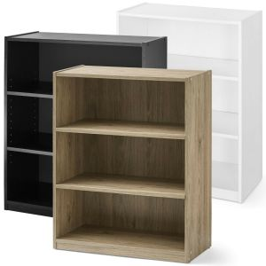 3-Shelf Wood Bookcase, Wide Storage Book Display Bookshelf Adjustable Shelving