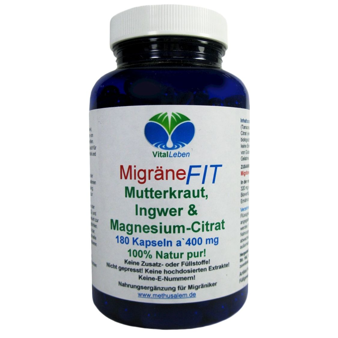 MigräneFIT Mutterkraut Ingwer & Magnesium-Citrat 180 Kapseln Natur Pur #25767