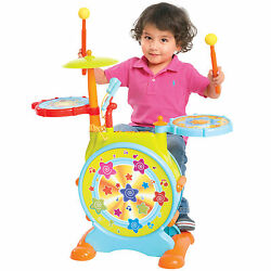 Kids Electronic Toy Drum Set with Adjustable Sing-along Microphone and Stool