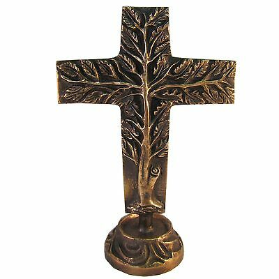 Bronzekreuz Stehkreuz Lebensbaum doppelseitig 24 cm standing Cross Tree of Life