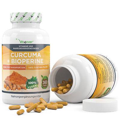 Kurkuma + Bioperine = 360 Kapseln - 3000 mg pro Tag - Curcuma Curcumin Turmeric