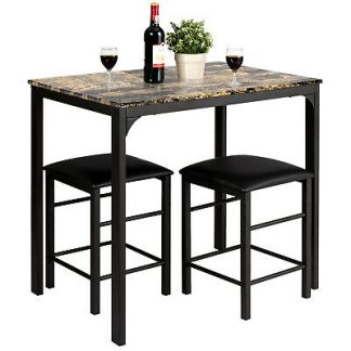 3 PCS Counter Height Dining Set Faux Marble Table 2 Chairs Kitchen Bar Furniture