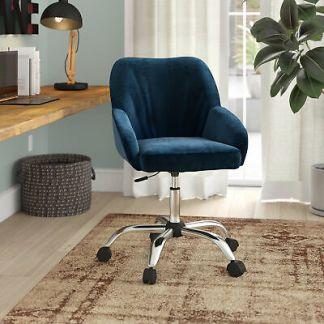 Office Chair Mid-Back Desk Task Velvet Seat Backrest Support W/ wheels, Blue