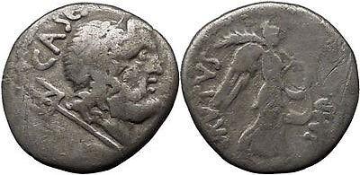 Roman: Republic (300 Bc-27 Bc) Apollo Diana Ancient Roman Silver Denarius Coin Mark Antony Octavian 42 Bc Temp