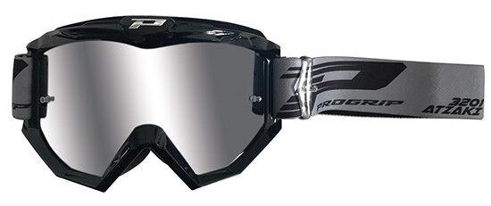 occhiali mascherina motocross lente a specchio Progrip Aztaki nero lente argento