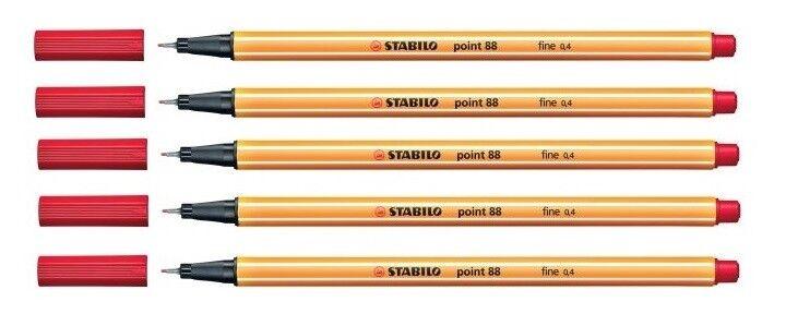 5x Stabilo Point 88 Fineliner Faserschreiber 0,4 mm, rot