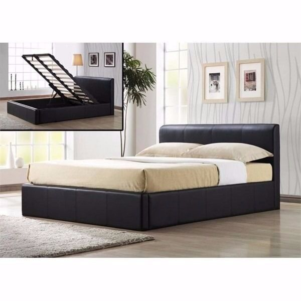 King Size Leather Storage Ottoman Bed Frame And Mattress Free Delivery