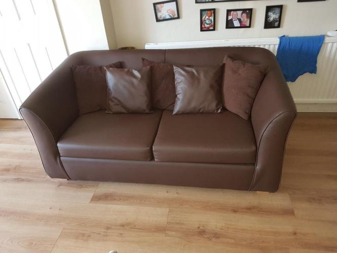 Metal Action Sofa Bed Leather Look With Mattress