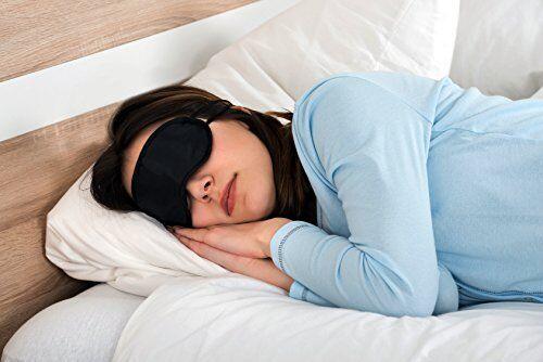 Schlafmaske mit Kühlkissen Augenmaske Nachtmaske Augenabdeckung schwarz  M&H-24