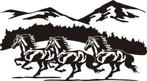 Wild Horses Mountain Scene Decal Sticker Horse Trailer Horse