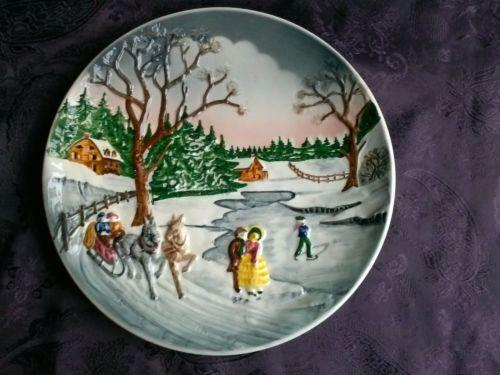 Winter Scene Plate EBay
