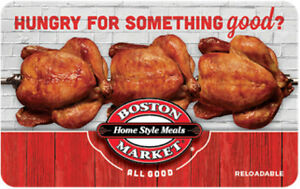$50 Boston Market Gift Card For Only $42.50! - FREE Mail Delivery
