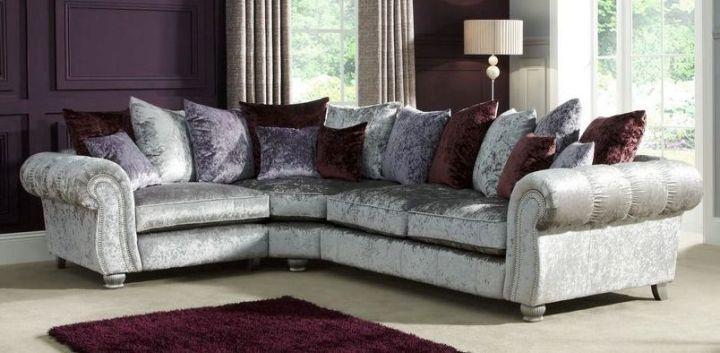 Scs grey and purple corner sofa for Grey and purple sofa