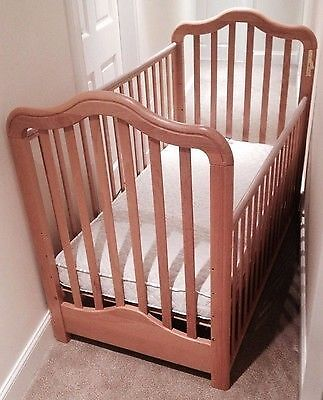 Cosatto Chantelle Natural Wood Bedside Crib Cot And Made To Measure Mattress