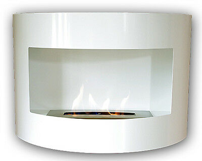 Bioethanol Riviera Deluxe White Wall Fire Place with 1 Liter Burner