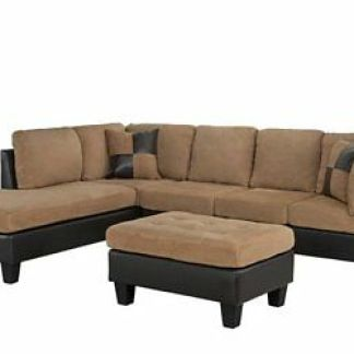 3-Piece Brown Microfiber Faux Leather Sectional Sofa Reversible Chaise, Hazelnut