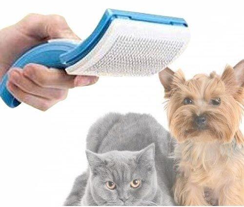 Selbstreinigende Fellbürste Hunde Katzen Trimmer Bürste Zupfbürste Striegel