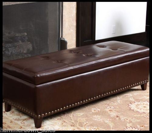 leather storage ottomans for sale ebay