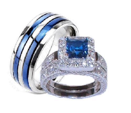 Blue Wedding Ring Set EBay