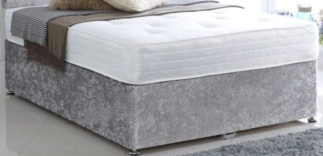King Size Silver Velvet Divan With Thick Ortho Mattress Free Delivery