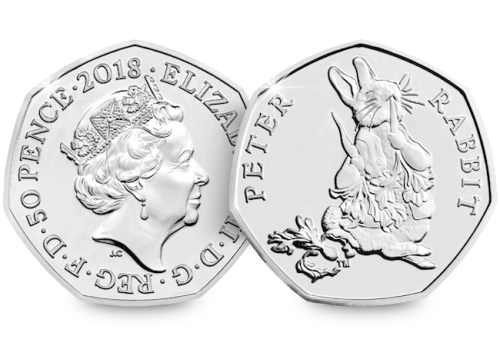 2018 UK Peter Rabbit CERTIFIED BU 50p [Ref 544Y]
