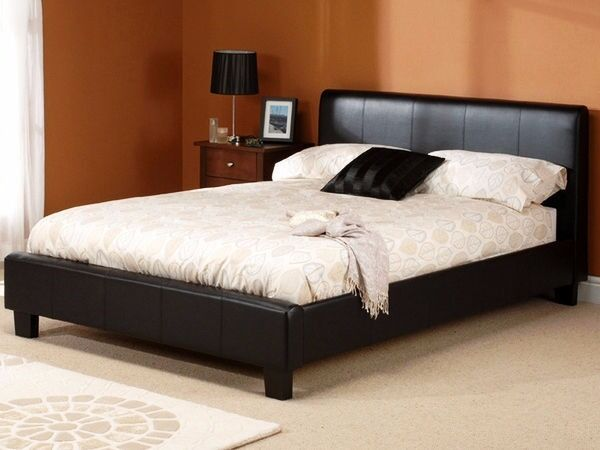 7 Day Money Back Guarantee Double Leather Bed With Semi Orthopaedic