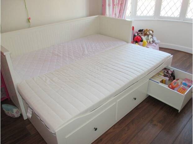 Ikea Hemnes Cream Day Bed Double King Size With Two Mattresses And Storage