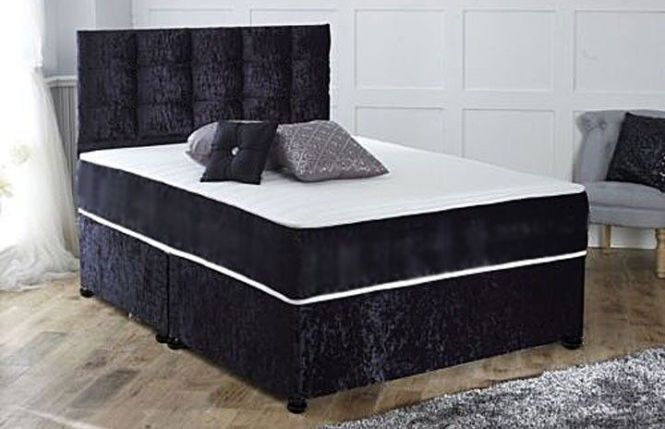 Brand New Double Single Or King Crushed Velvet Divan Bed And Orthopedic
