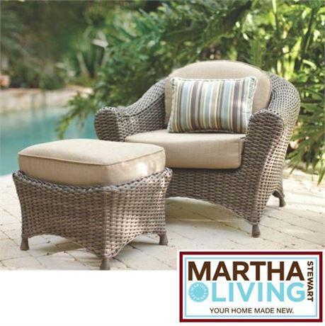 NEW* MSL PATIO CHAIR OTTOMAN SET MARTHA STEWART LIVING ... on Martha Stewart Wicker id=22249