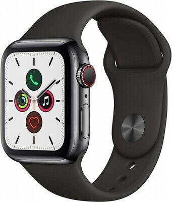 Apple Watch Series 5 [GPS + Cellular, inkl. Sportarmband schwarz] 40mm Edelsta N