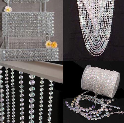 30M Girlande Diamant Kristall Hochzeit Party Deko Perlenvorhang Chain Perlen
