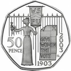 RARE SUFFRAGETTE 50p 2nd rarest coin after kew garden over 1000 sold!!!