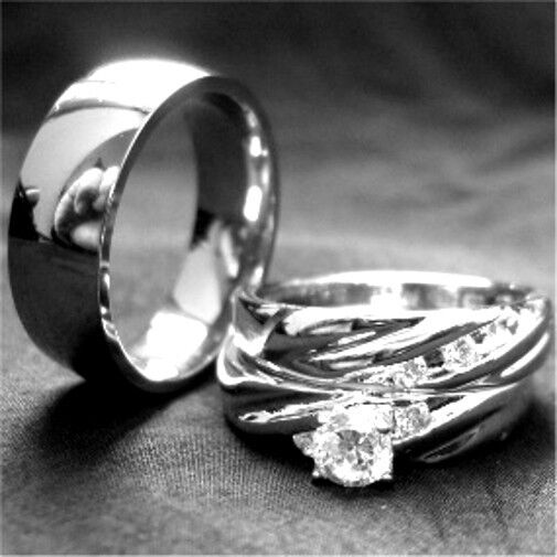 Sterling Silver His And Hers Wedding Ring Sets EBay