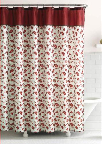 Red Floral Shower Curtain EBay