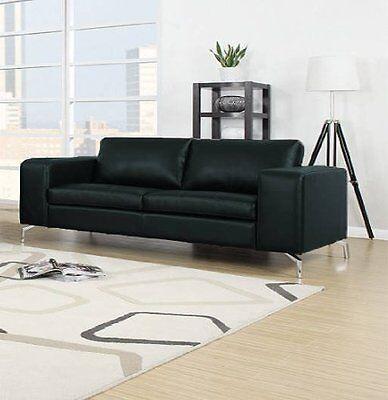 MADISON Couch 2er Sofa Wohnlandschaft Garnitur Wohnzimmer Kunstleder Schwarz